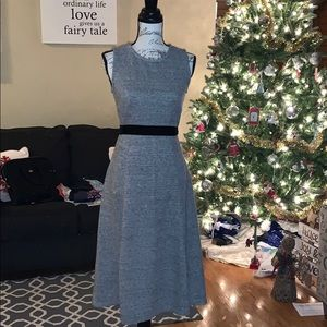 J. Crew grey fit and flair dress with black belt